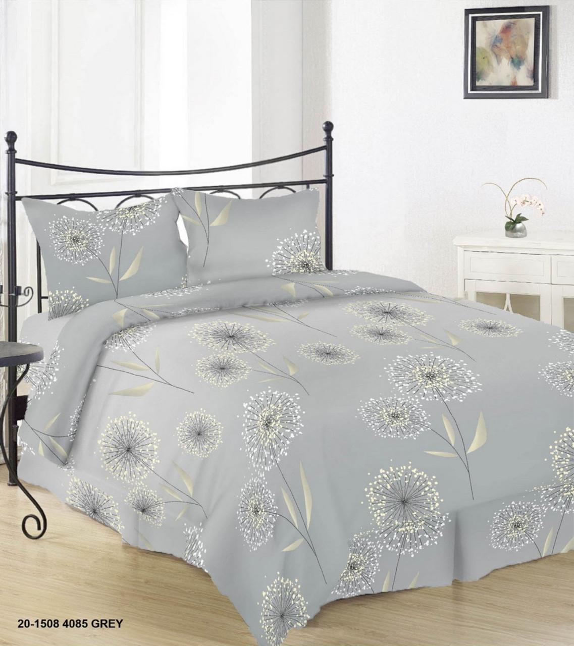 Красивое и качественное постельное белье, євро, одуванчики на сером