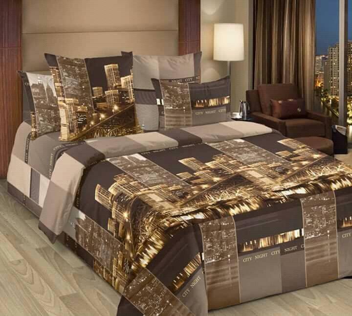 Стильное постельное белье евро размер, город, горичневое