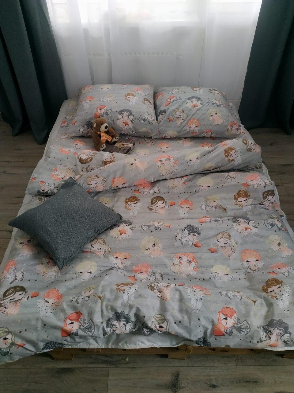 Качественное очень милое постельное белье полуторка, ангелочки