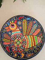 """Сувенірна тарілка ручної роботи """"Чарівна курочка"""" художній розпис"""