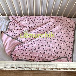 """Конверт-плед двухсторонний для новорожденных легкий на выписку и в коляску """"Звездочка"""" розовый"""