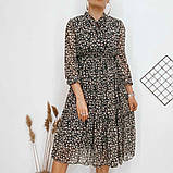 Платье для лета из шифона с длинным рукавом длина миди 6 цветов р.42,44,46,48  Код 830Г, фото 3