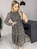Платье для лета из шифона с длинным рукавом длина миди 6 цветов р.42,44,46,48  Код 830Г, фото 2