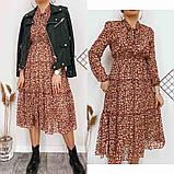 Платье для лета из шифона с длинным рукавом длина миди 6 цветов р.42,44,46,48  Код 830Г, фото 9