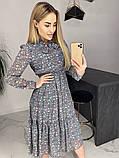 Платье для лета из шифона с длинным рукавом длина миди 6 цветов р.42,44,46,48  Код 830Г, фото 5