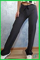 Женские серые прямые спортивные штаны на резинке размер S со шнурком