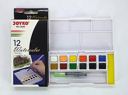 Краски акварельные 12 цветов, с кисточкой, Joyko, 2000-WC