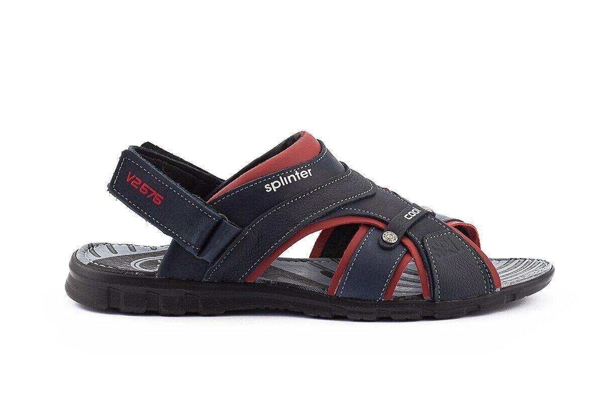 Мужские сандали кожаные летние синие-красные Splinter Summer с 1217