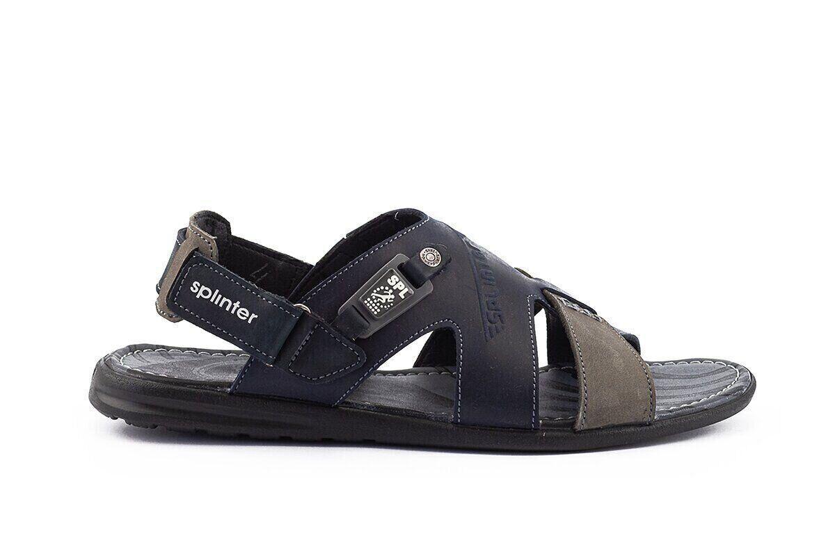Мужские сандали кожаные летние синие-серые Splinter Summer с 1219