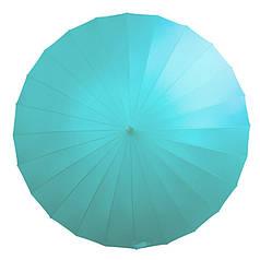 Зонт Lesko T-1001 Sky Blue 24 спиці міцний механічний однотонний