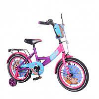 """Велосипед TILLY Cute T-216217 16"""" с 2 тормозами, багажником и зеркалом Розовый/Фиолетовый"""