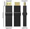 Поворотний кутовий з'єднувач перехідник адаптер HDMI F to HDMI M (на 360 градусів), фото 4