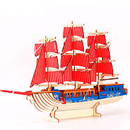 Деревянный пазл 3D - Парусное спортивное судно, фото 2