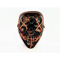 Неоновая маска Purge Mask Судная ночь Оранжевая   Карнавальна маска
