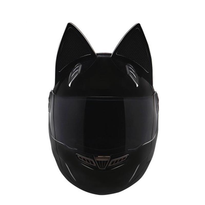 Женский мото кото шлем с ушками как у Девочки Демон Размер S Черный