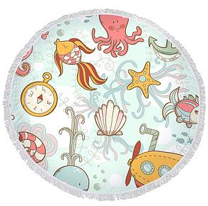 Пляжный коврик из микрофибры Подводный Мир, фото 2