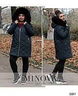 Осенне-зимняя стеганая куртка с отстегивающимся капюшоном синий