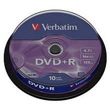 DVD+R Verbatim (43498) 4.7 GB 16x Cake 10шт Silver