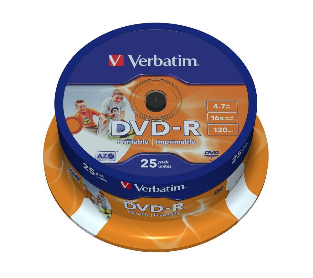 DVD-R Verbatim (43538) 4.7 GB 16x AZO Wide Printable Surface, 25шт Spindle