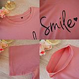Футболка жіноча літнє бавовняна з принтом Smile (рожева) L, фото 5