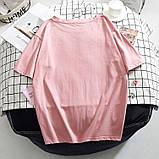 Футболка женская летняя хлопковая с принтом Smile (розовая) L, фото 4