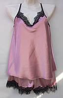 Комплект для сна (шортики+майка) с кружевом атласный женский (ПОШТУЧНО), фото 1
