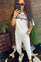 Белый женский летний костюм футболка и укороченные брюки, фото 1