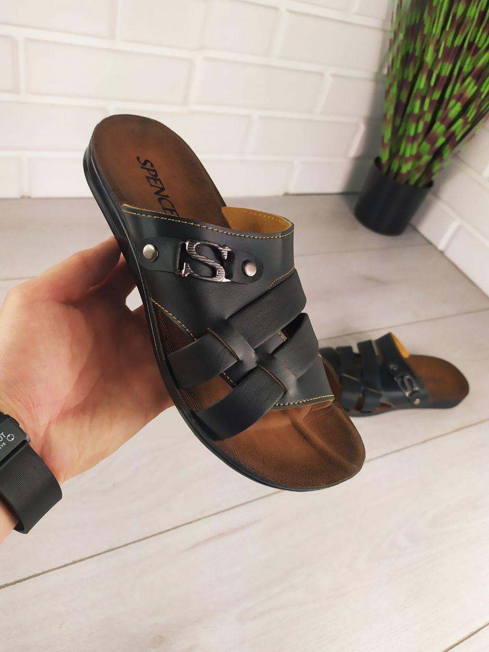 Шлепанцы мужские, черные, эко кожа, шлепки мужские, тапочки мужские, вьетнамки мужские, обувь летняя