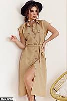 Женское летнее льняное платье С, М +большие размеры, фото 1