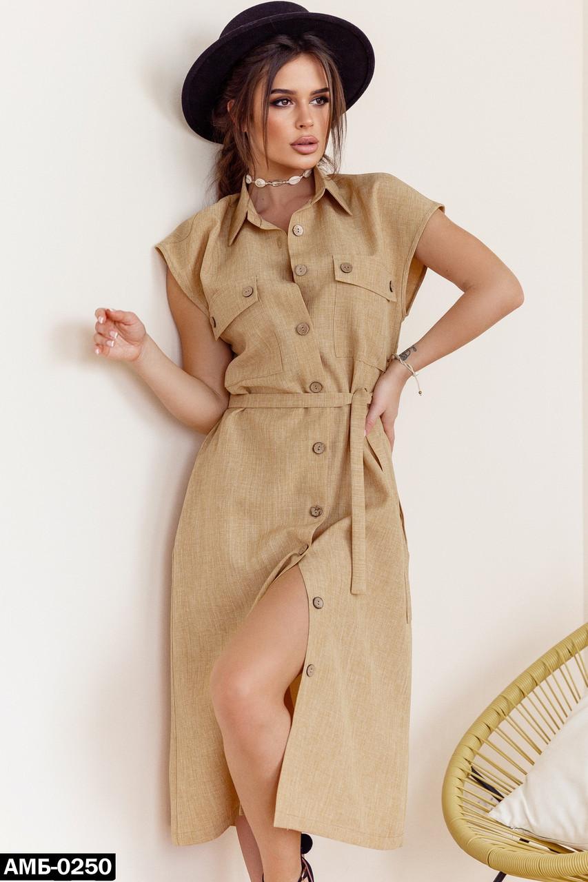 Женское летнее льняное платье С, М +большие размеры