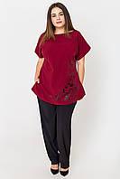 ✔️ Женский летний костюм Шарон из штапеля большого размера 54-62 бордовый