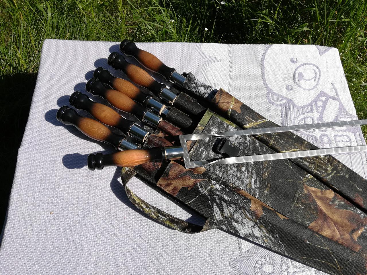 "Набор 6 шампуров ""LUX"" + двойной шампур ""LUX"" с деревянной ручкой, чехол-колчан (640х12х3 мм)"