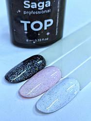 Топ з шиммером без липкого шару ( Топ покриття для нігтів ) Glitter TOP Saga professional 8 мл