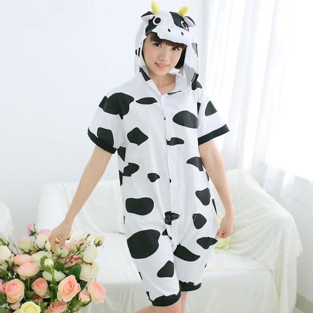 Пижама летняя кигуруми Взрослые и Детские коровка