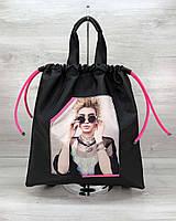 Женский сумка рюкзак WeLassie «Berry» черный с неоновым малиновым