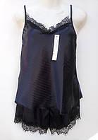 Комплект для сну (шорти+футболка) з мереживом атласний жіночий (ПОШТУЧНО), фото 1