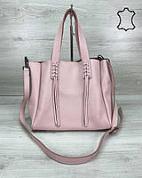 Шкіряна жіноча сумка шоппер WeLassie «Akua» пудра