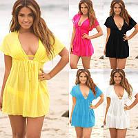 Однотонное женское пляжное платье Купальник