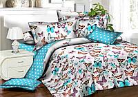 Красивое качественное стильное постельное белье евро, бабочки для девочки