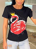 """Футболка женская летняя турецкая коттоновая """"Розовый фламинго"""" 4 цвета, р.42-46, код 743Г"""