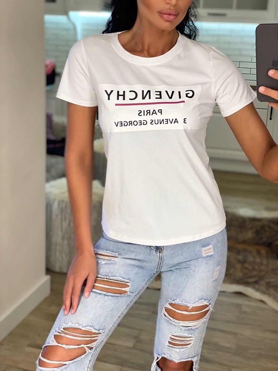 """Футболка жіноча літнє з натуральної тканини бавовна з написом """"Givenchy"""", 2 кольори р. 42-46 код 757Г"""