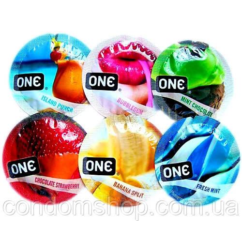 Набор из цветных презервативов со вкусами Премиум сегмента One.Малайзия.6 шт.Качество Durex.