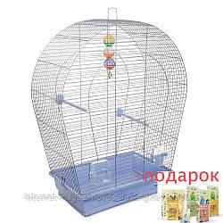 Клетка Арка Большая для мелких и средних декоративных птиц ТМ Природа 44х27х75см хром/светло-голубая