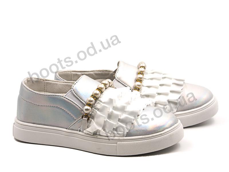 """Слипоны  детские """"Violeta"""" #200-4K white. р-р 25-30. Цвет белый. Оптом"""