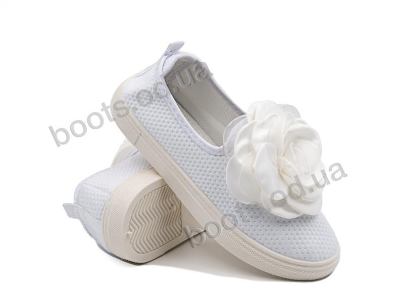 """Слипоны  детские """"Violeta"""" #203-21 white. р-р 30-36. Цвет белый. Оптом"""
