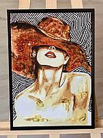 "Картина из янтаря на холсте "" Девушка в шляпе "" 30x40 см"