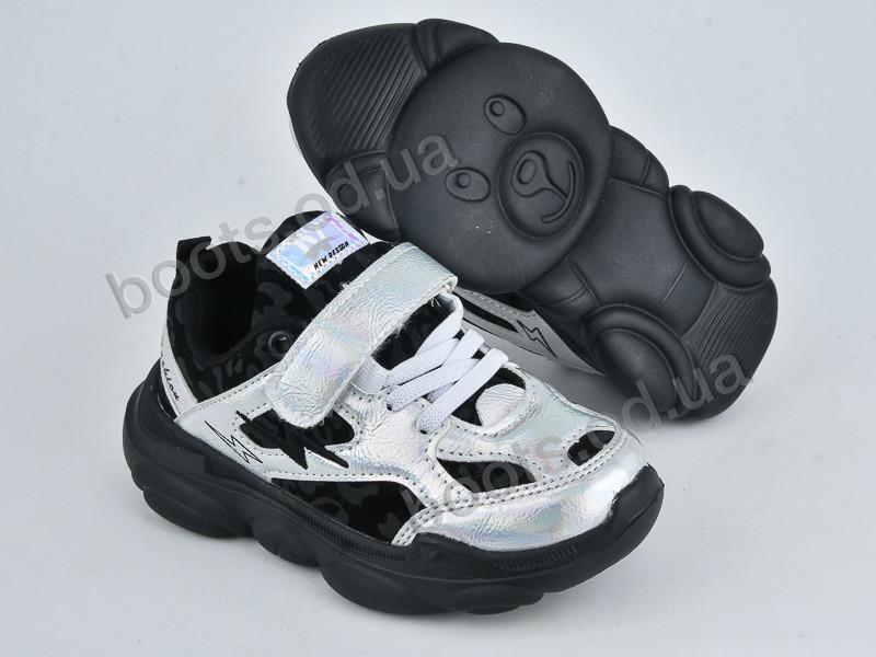 """Кроссовки  детские """"Violeta"""" #200-61K silver black. р-р 25-30. Цвет серебряный. Оптом"""
