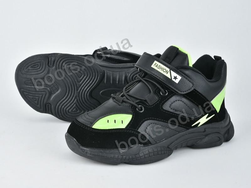 """Кроссовки  детские """"Violeta"""" #200-82 black green. р-р 31-36. Цвет черный. Оптом"""