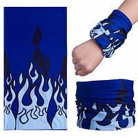 Бафф маска с рисунком Синее пламя универсальный