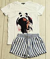 Женский летний костюм шорты с футболкой морячек